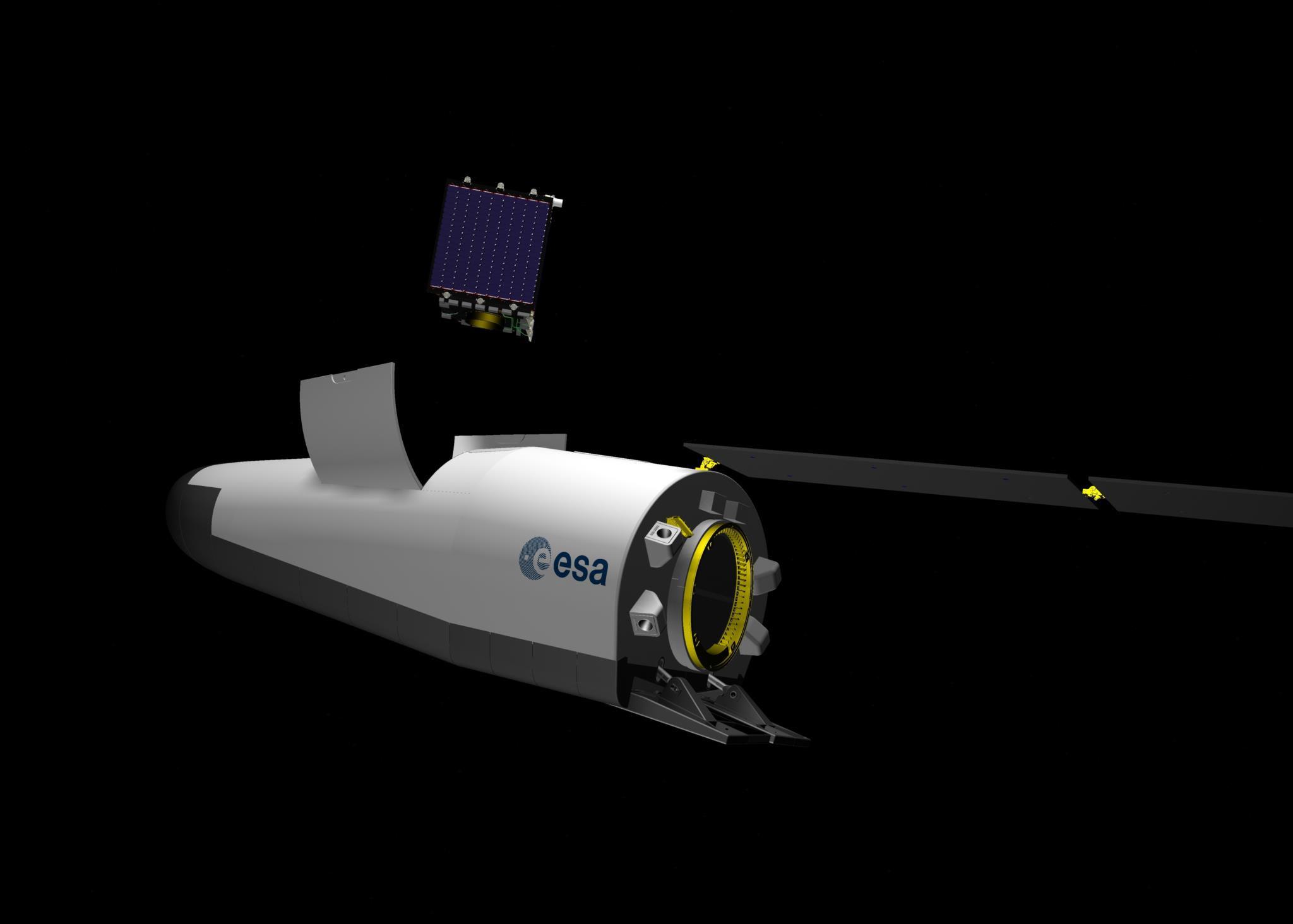 Visão artística do veículo Space Rider ESA/Jacky Huart